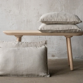 Lin Housse de Coussin Natural Rustico Washed
