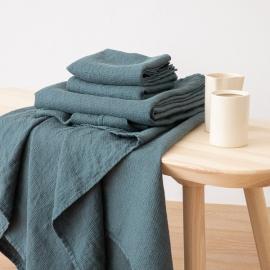 Balsam Green Serviettes de Bain Texure Gaufrée en Lin et Serviettes Lavé