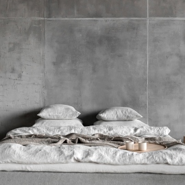 Argent Parure de lit en lin lavé Stone Washed Rhomb
