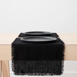 Set de table Terra avec franges faites main, Noir