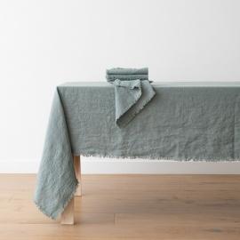 Serviette de table Terra avec franges faites main, Spa Vert
