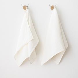 Lot de 2 serviettes d'invité en lin blanc cassé Twill