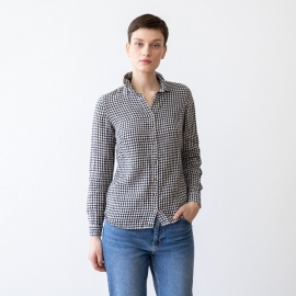 Black White Gingham Chemisier en Lin Ernesto