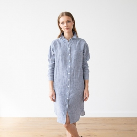 Blue White Gingham Robe Chemise en Lin Paula