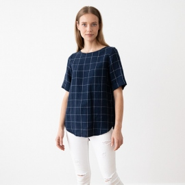 Navy Off White Window Pane Chemisier en Lin Luisa