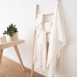 Ensemble de serviettes de bain en lin blanc cassé Twill