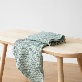 Set de serviettes de toilette, big nid d'abelle en lin Sea Foam