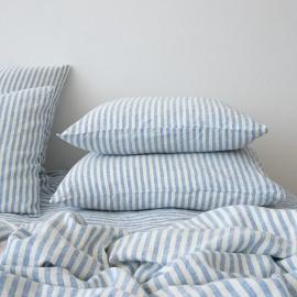 Blue Taie D'Oreiller en Lin Ticking Stripe