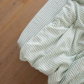 Mint Drap Housse en Lin Ticking Stripe