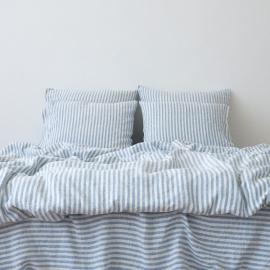 Blue Housse de Couette en Lin Ticking Stripe