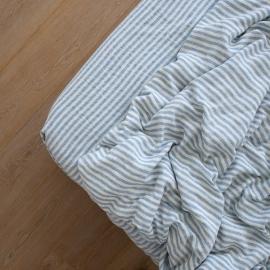Blue Drap Housse en Lin Ticking Stripe