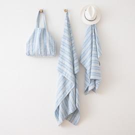 Sac de plage en lin Multistripe Blue