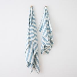 Sac de plage en lin Multistripe Marine Blue