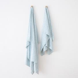 Serviettes de Plage en Lin Brittany Marine Blue