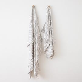 Serviettes de Plage en Lin Brittany Graphite