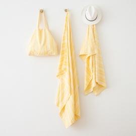 Sac de plage en lin Multistripe Yellow