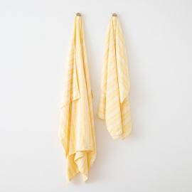 Serviettes de Plage en Lin Multistripe Yellow