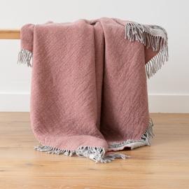 Plaid en laine Mérinos Marcus Rosa