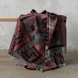 Plaid en laine Mérinos Marta Red Black