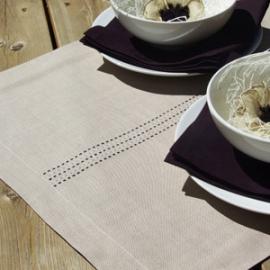 Collection Stitch Aubergine & Idées linen Sable