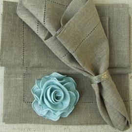 Serviettes de table Una en lin naturel