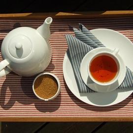 Set de table Jazz en lin et Coton Rouge & Serviette de table Jazz Bleue