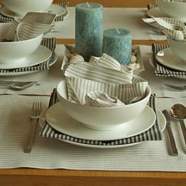 Serviettes de table Jazz beiges et noires & Set de table Beige