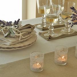 Nappe Rhomb en lin blanc cassé et Serviettes de table coloris Blé