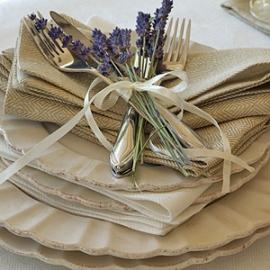 Serviettes de table Rhomb en lin coloris blé