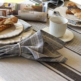 Nappe noire et Serviette à rayures Provence