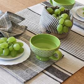 Chemin et set de table Provence à rayures noires
