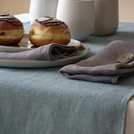 Nappe en lin coloris Crème, Serviettes de table Naturelles, Chemin de table Lara bleu lac