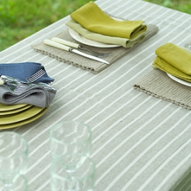 Nappe Bretagne Naturelle, Serviettes de table Lara Céleri & Chambray, Set de table Inga Naturel
