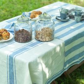 Nappe à rayures bleues Toscane, serviettes & chemins de table Phillipe à rayures bleues