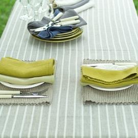 Inga Placemat Natural, Lara Napkins Chambray & Celery, Brittany Tablecloth Natural