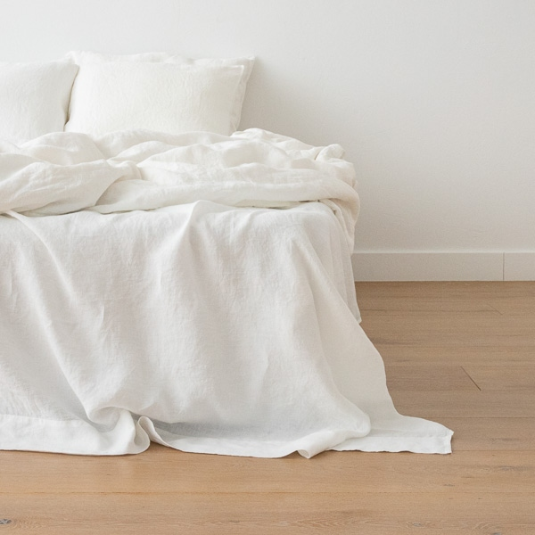 drap simple en lin lav couleur blanc cass literie linenme. Black Bedroom Furniture Sets. Home Design Ideas
