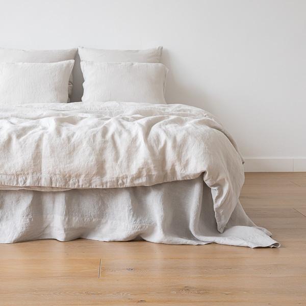 housse de couette en lin lav couleur argent literie linenme. Black Bedroom Furniture Sets. Home Design Ideas