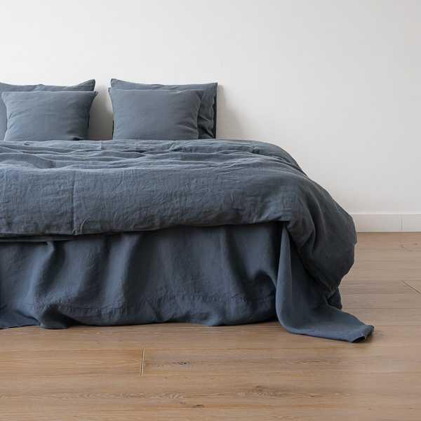 Blue stone washed bed linen duvet bed linen linenme for Housse de couette en lin solde