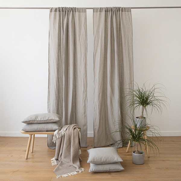 Rideau en Lin Stone Washed, Finition Tunnel, Taupe - LinenMe